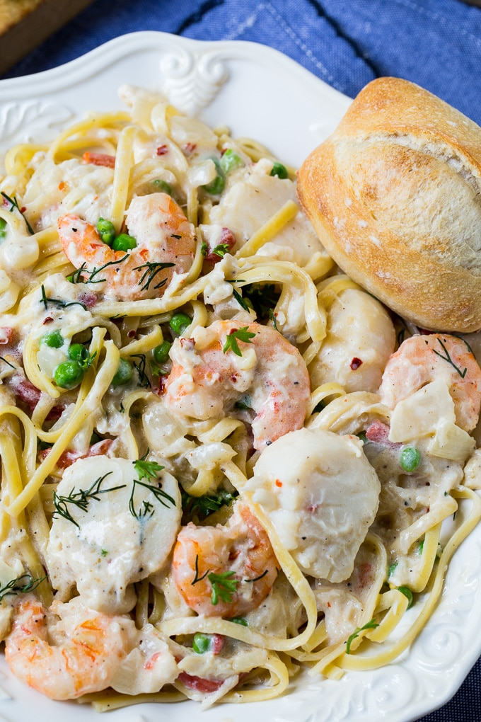 Low Country Fettuccine with shrimp and scallops