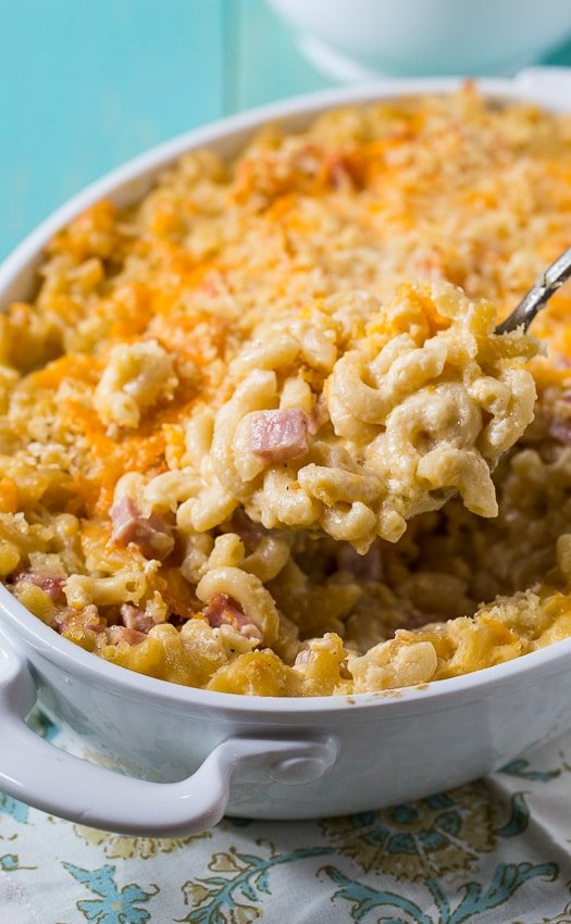 Creamy baked Mac and Cheese with Ham