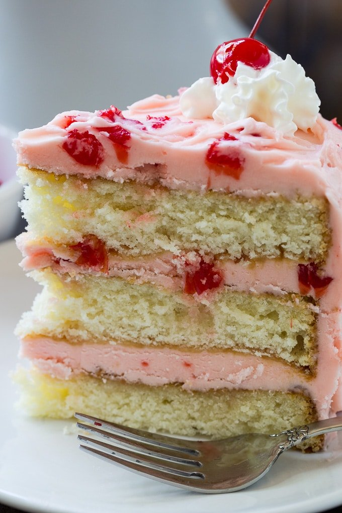 White Layer Cake with Maraschino Cherry Frosting
