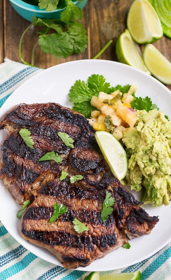 Margarita Steak - juicy rib-eyes marinated in tequila, lime, and triple sec.