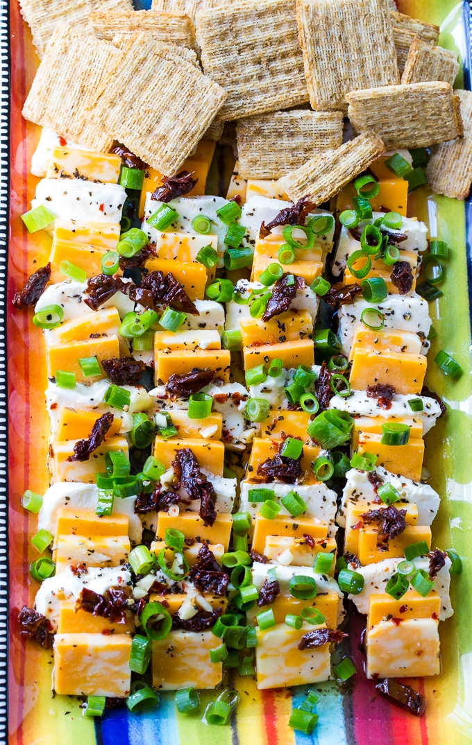 Spicy Marinated Cheese makes an easy party appetizer.