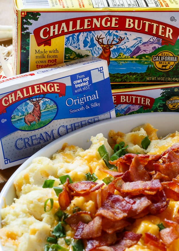 Loaded Mashed Potato Casserole @challengebutter #PinARecipeFeedAChild