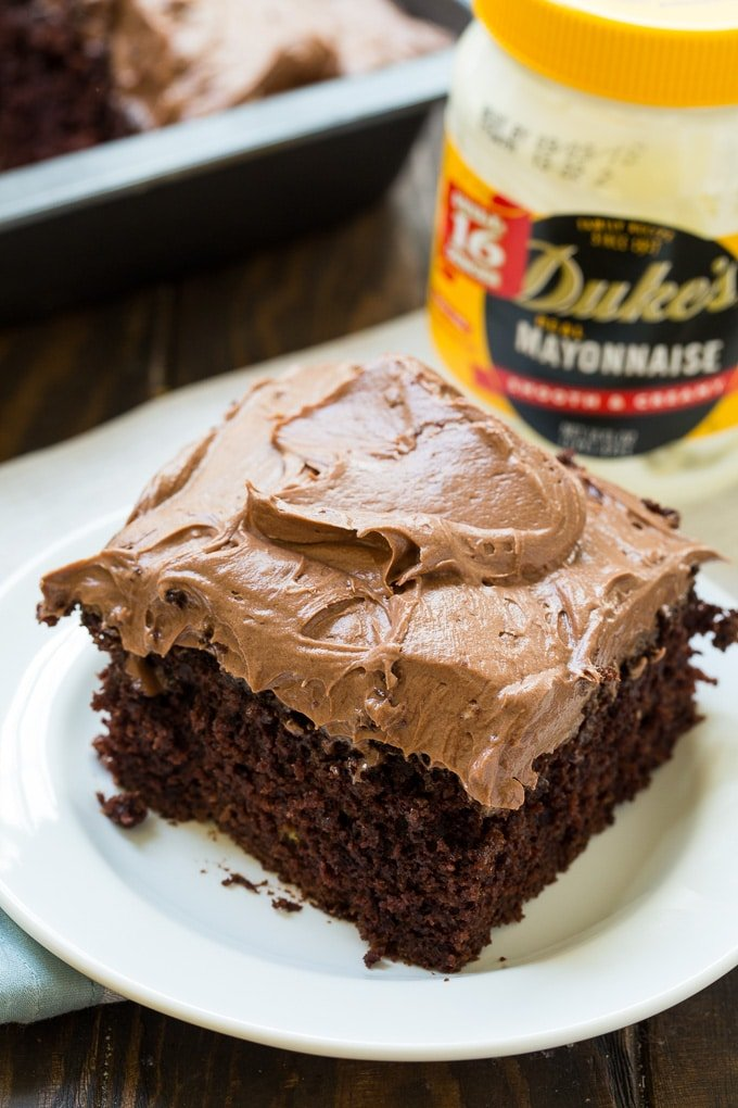 Chocolate Mayonnaise Sheet Cake with chocolate cream cheese frosting