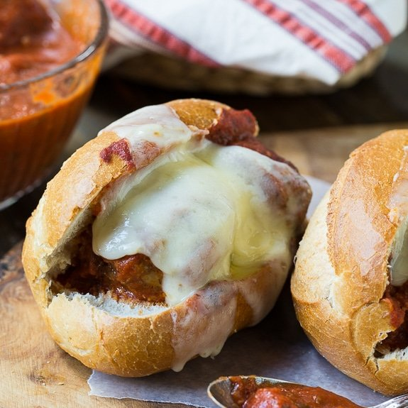 Super easy meatballs made in a crockpot that are perfect for meatball subs.