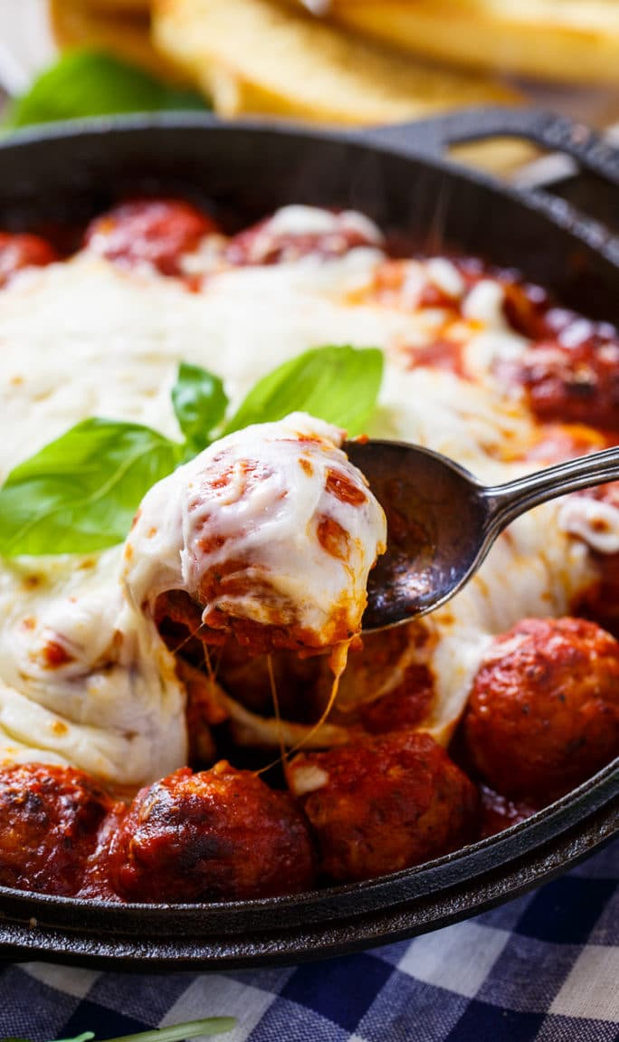 Cheesy Meatball Skillet makes an easy appetizer of dinner.