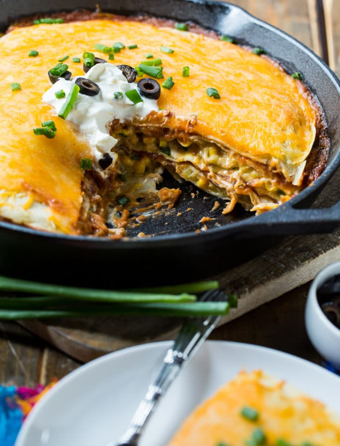 One Pot Mexican Chicken Tortilla Pie