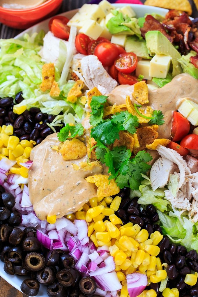 Tex-Mex Cobb Salad with BBQ Ranch Dressing