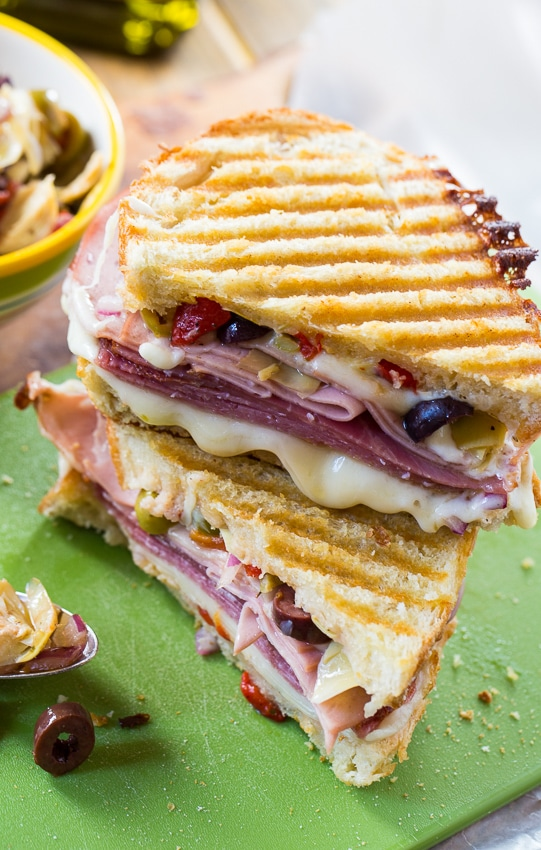 Muffaletta Panini with 3 kinds of meat, provolone cheese, and olive relish.