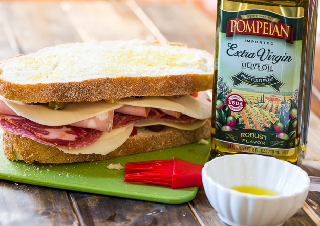 Muffaletta Panini with Pompeian Olive Oil