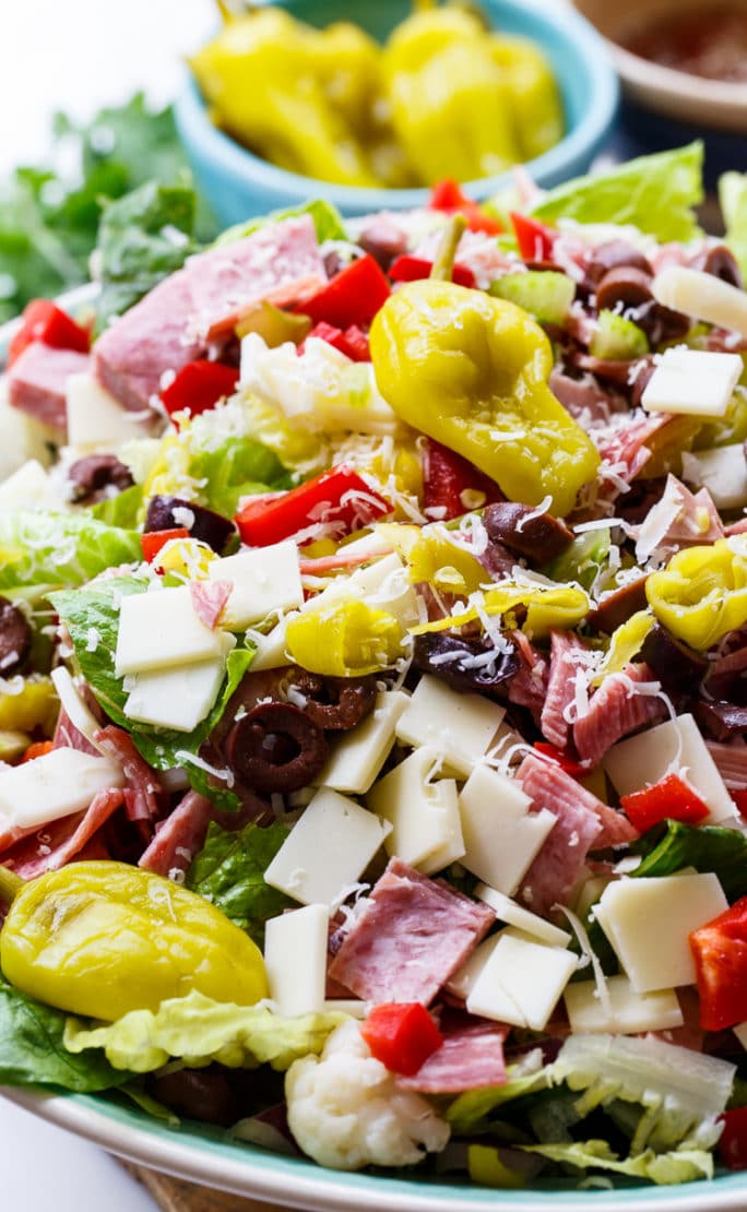 Muffaletta Salad with lots of meat, cheese, and olives