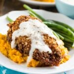 Nutty Fried Chicken with Smashed Sweet Potatoes and Milk Gravy.