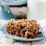 Old-fashioned Oatmeal Cake with coconut and pecan broiled topping.