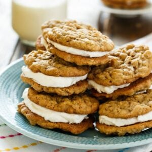 Oatmeal Sandwich Cookies- 2 chewy oatmeal cookies with a fluffy marshmallow filling.