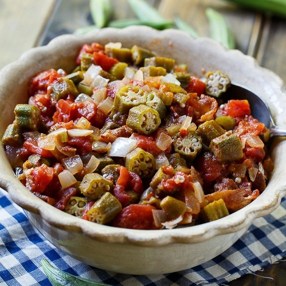 Stewed Okra and Tomatoes - Spicy Southern Kitchen