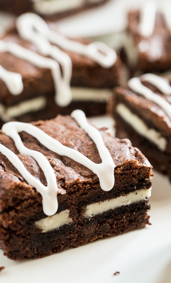 Cookies and Cream Brownies stuffed with oreo cookies.