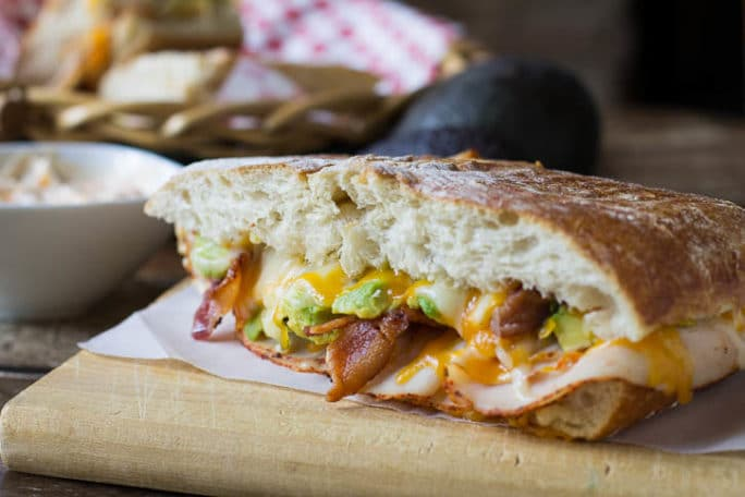 Chipotle Chicken Paniniwith avocado and bacon