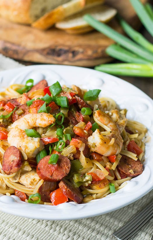 Cajun Pastalaya is a modern take on the traditional jamabalaya with pasta instead of rice.