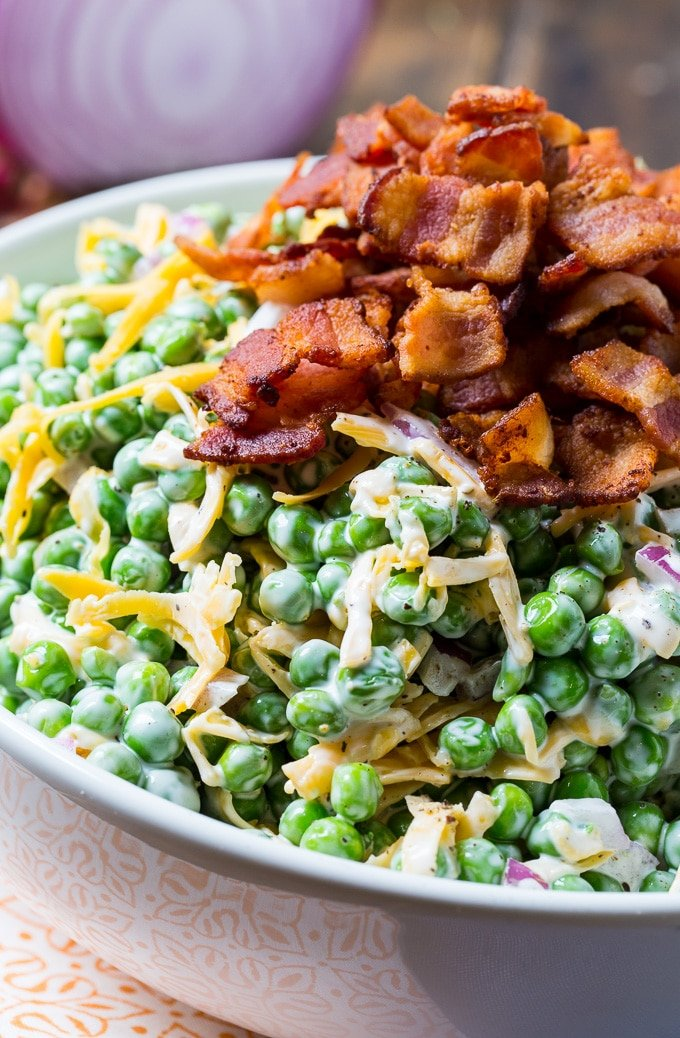 pea salad with cheese and bacon