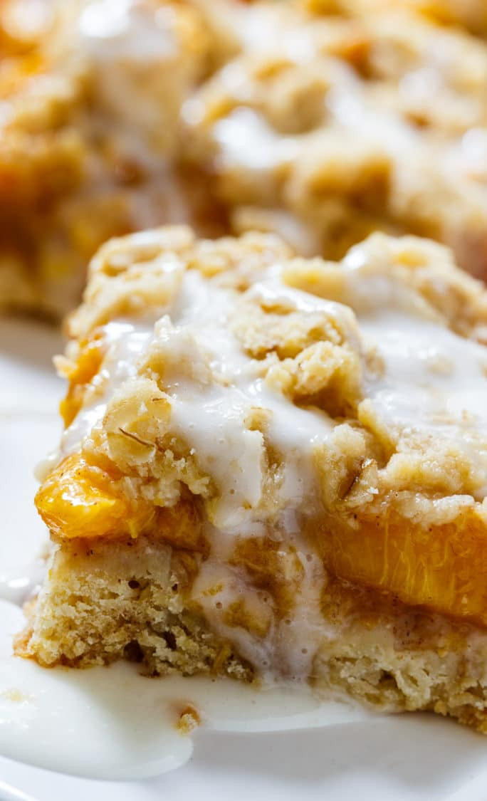 Peach Cobbler Bars- tastes like peach cobbler in bar form.