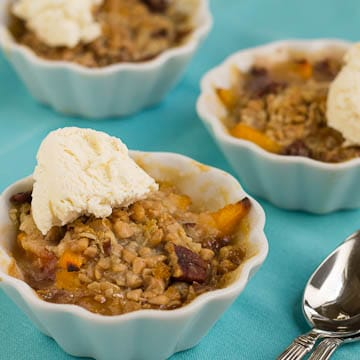individual toffee and peach crisps