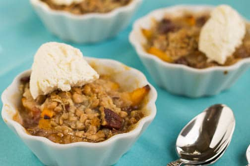 individual toffee, pecan, and peach crisps