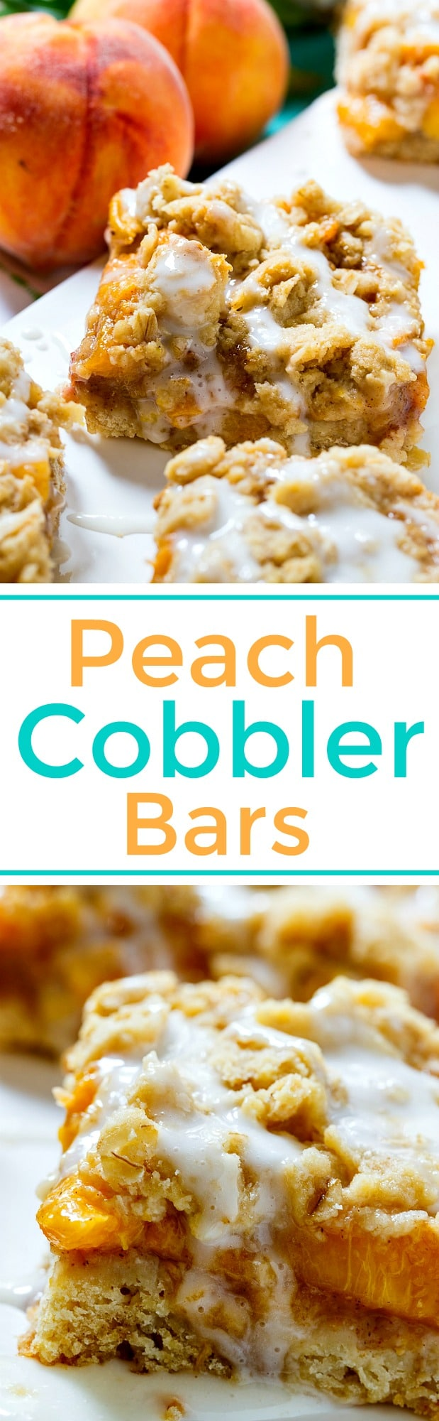 Peach Cobbler Bars made with fresh summer peaches.