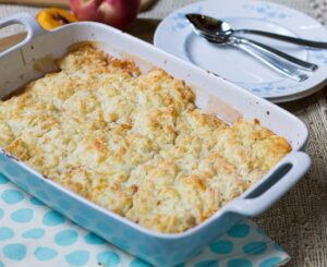 Peach Cobbler with White Cheddar Crust