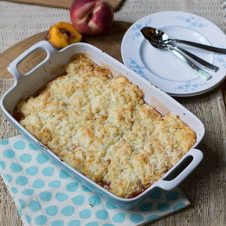 Peach Cobbler with White Cheddar Biscuit Topping