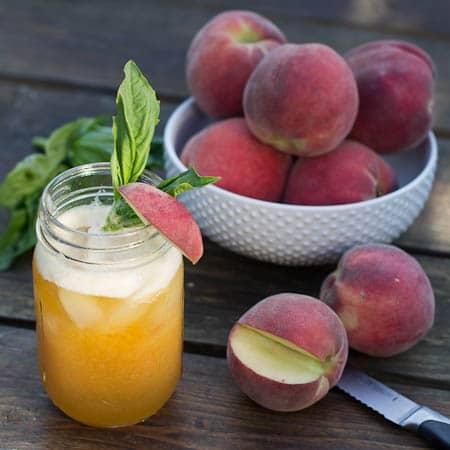 Peach Basil Juleps