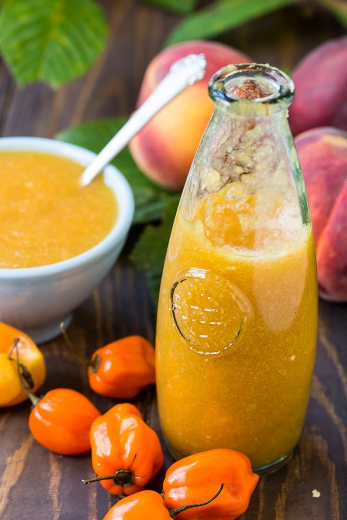 Peach Habanero Hot Sauce is an easy to make hot sauce with a sweet and spicy flavor.