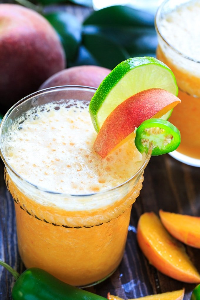 Peach Jalapeno Margarita flavored with jalapeno simple syrup