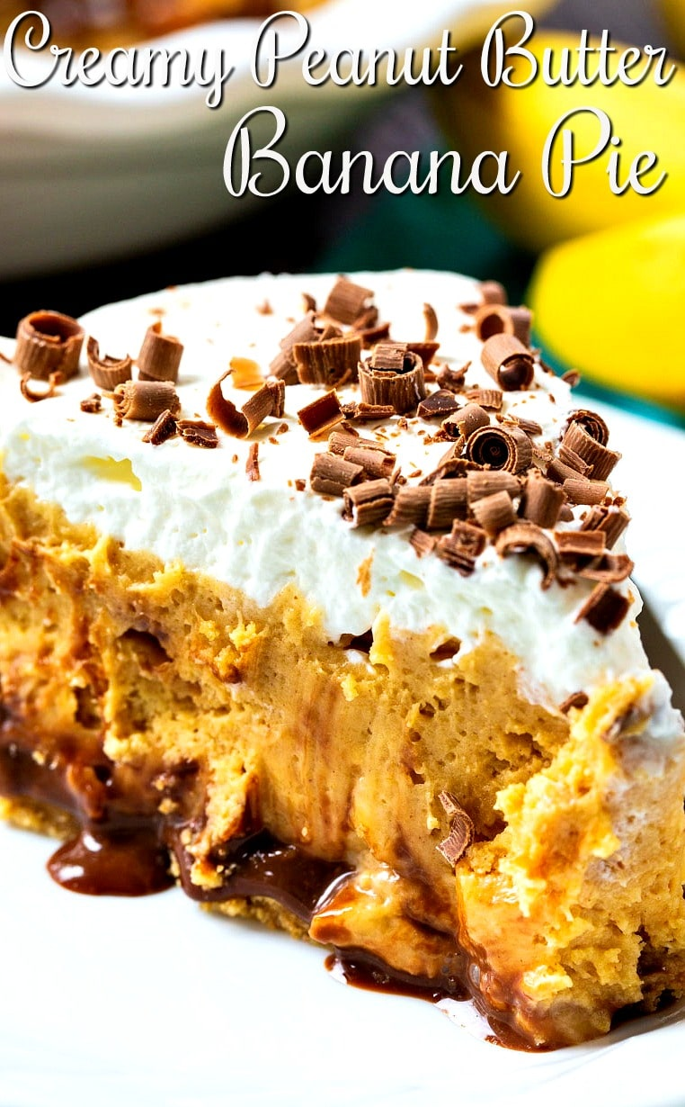 Slice of Peanut Butter Pie with Bananas