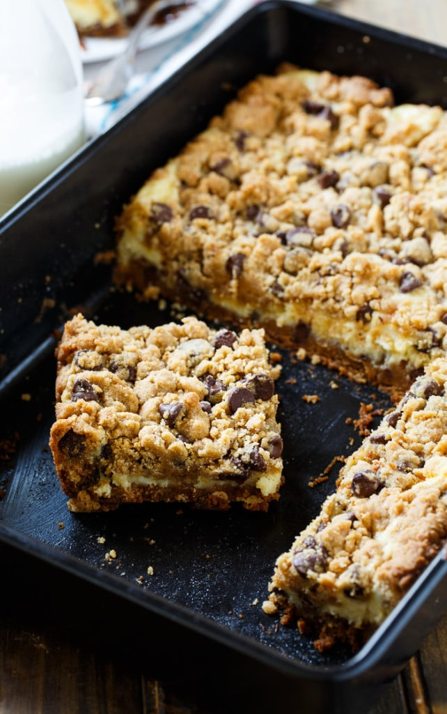 Cream Cheese Stuffed Peanut Butter Chocolate Chip Cookie Bars