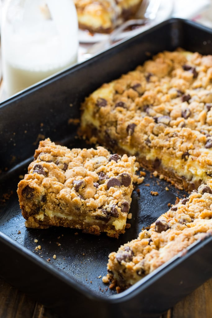 Cream Cheese Stuffed Peanut Butter Chocolate Chip Cookie Bars - Spicy ...