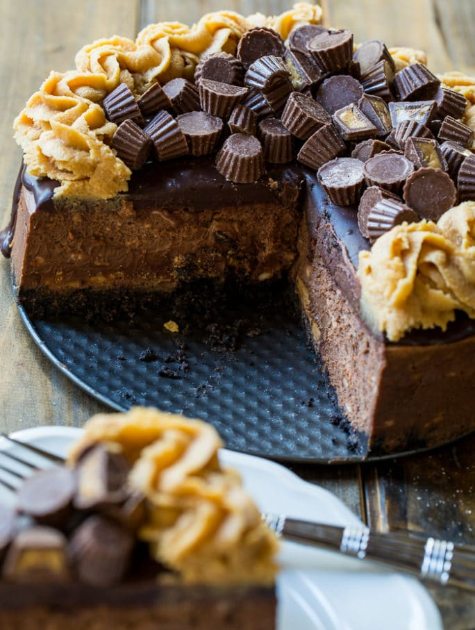 Chocolate Peanut Butter Cup Cheesecake - Spicy Southern Kitchen