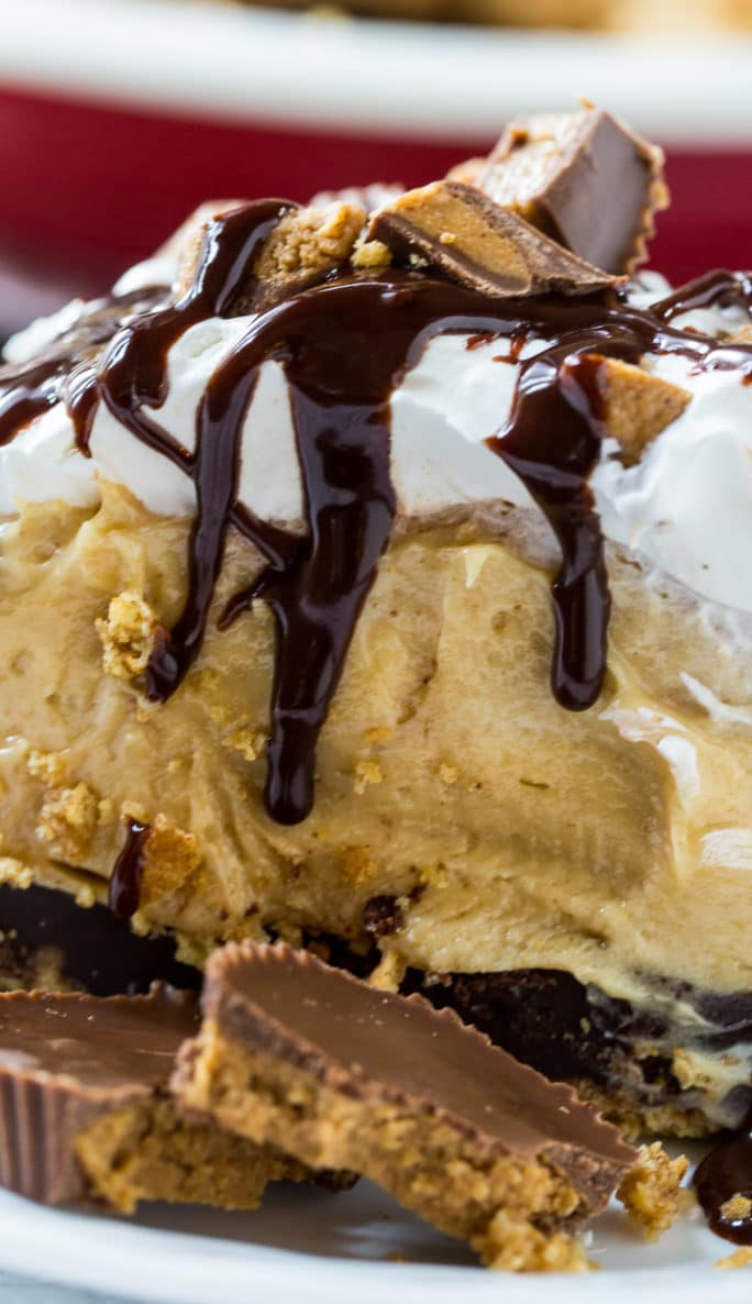 Creamy Peanut Butter Pie with a layer of chocolate and whipped cream.