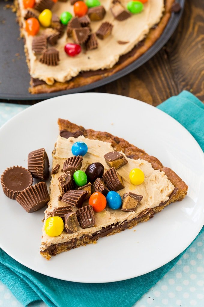 Peanut Butter Cup Dessert Pizza made from refrigerated cookie dough