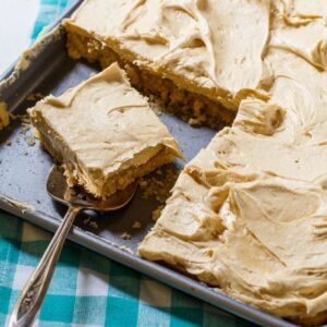 Peanut Butter Sheet Cake with a fluffy peanut butter frosting.