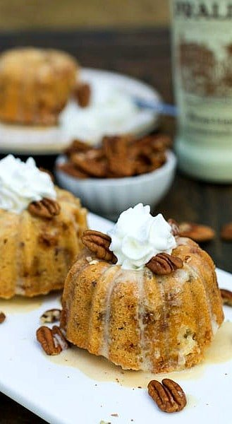 Pecan-Toffee Mini Bundt Cakes with Praline Creme Anglaise