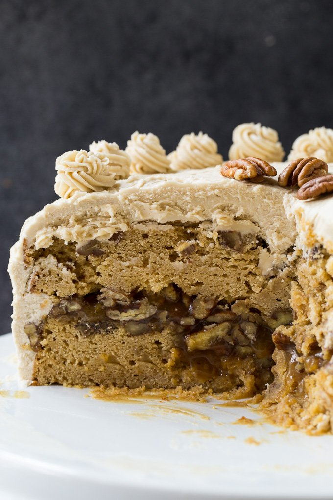 Pecan Pie Layer Cake with Brown Sugar frosting