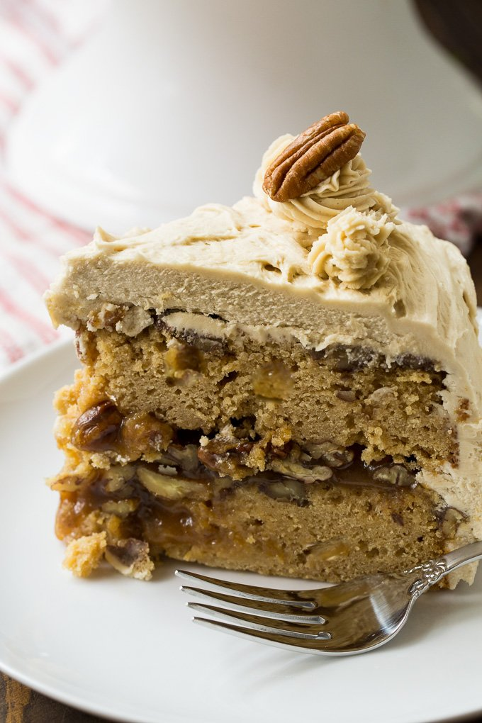 Pecan Pie Layer Cake with gooey pecan filling