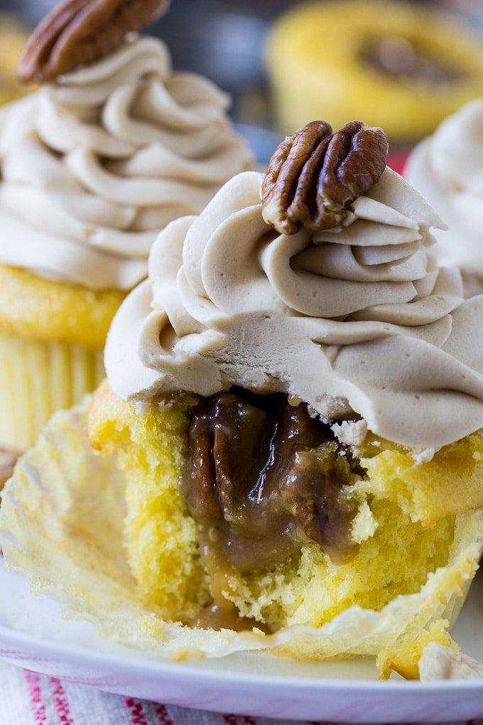 Pecan Pie Cupcakes stuffed with pecan filling
