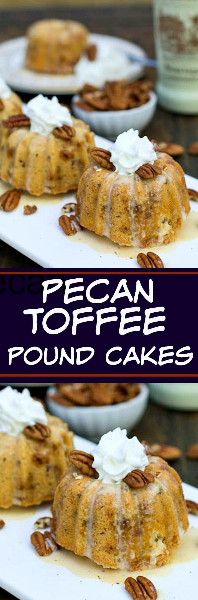 Mini Pecan Toffee Pound Cakes with Praline Creme Anglaise