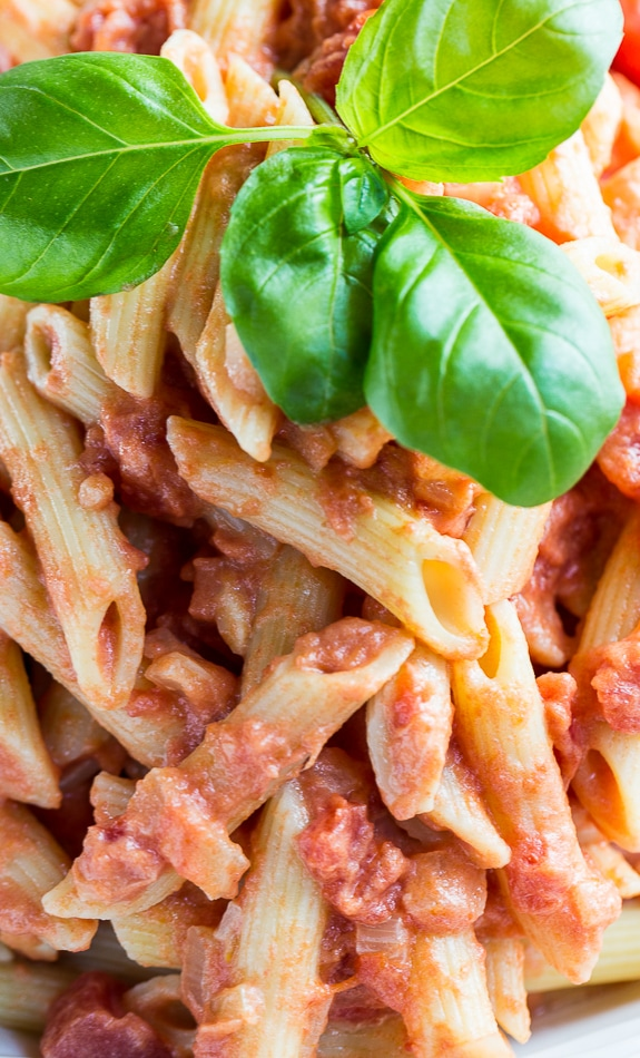 Close-up of Penne Alla Vodka with fresh basil