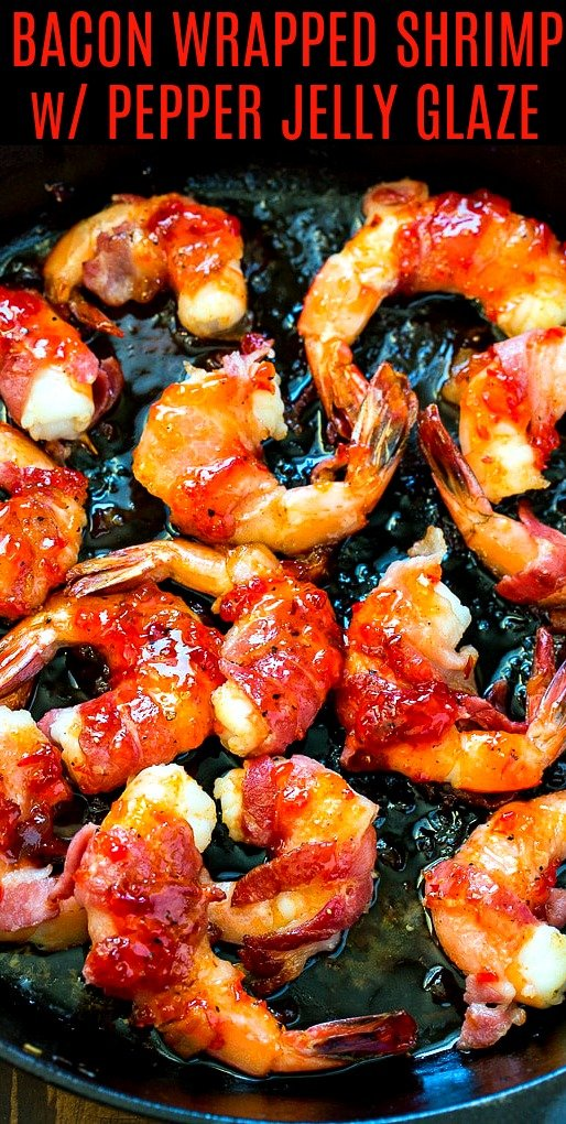 Shrimp wrapped in bacon in cast iron pan.