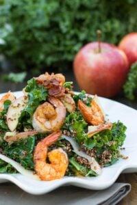 Apple, Kale, and Quinoa Salad with Spicy Shrimp #recipe