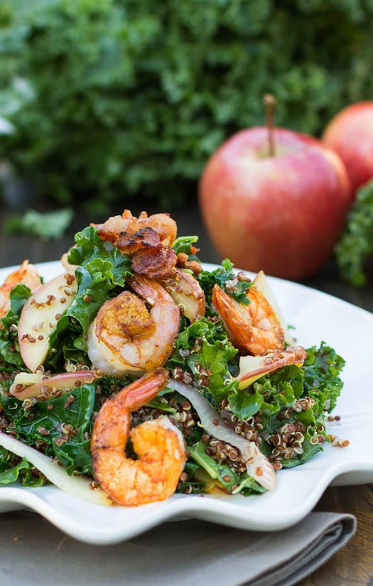 Apple, Kale, and Quinoa Salad with Spicy Shrimp #recipe