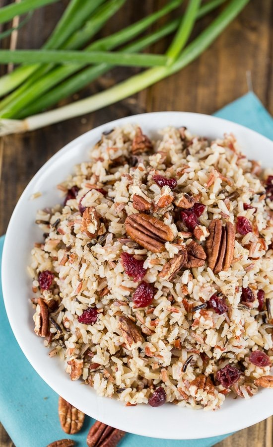 Rice Pilaf with toasted pecans and dried cranberries.