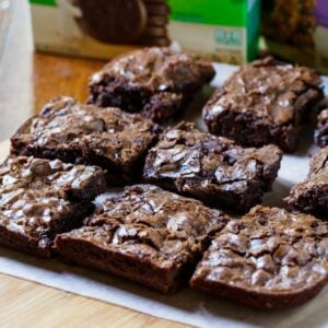 Easy Thin Mints Brownies made from Pillsbury baking mix.
