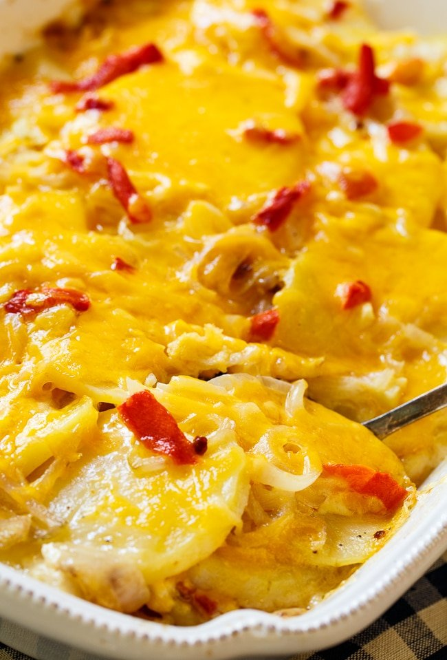 Pimento Cheese Potato Gratin- scalloped potatoes southern-style.